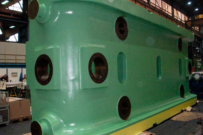 Large green forging press part