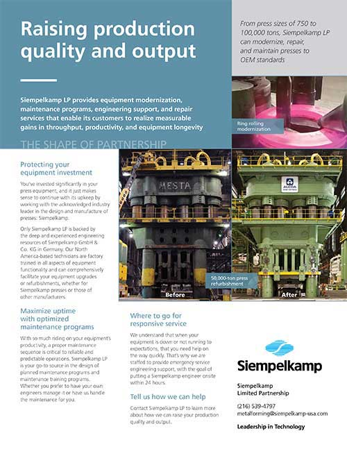 """Siempelkamp """"Raising production quality and output"""" brochure"""